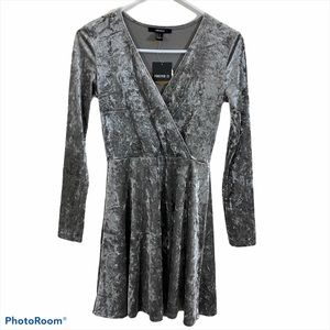 Forever 21 Gray Crushed Velvet Mini Dress S